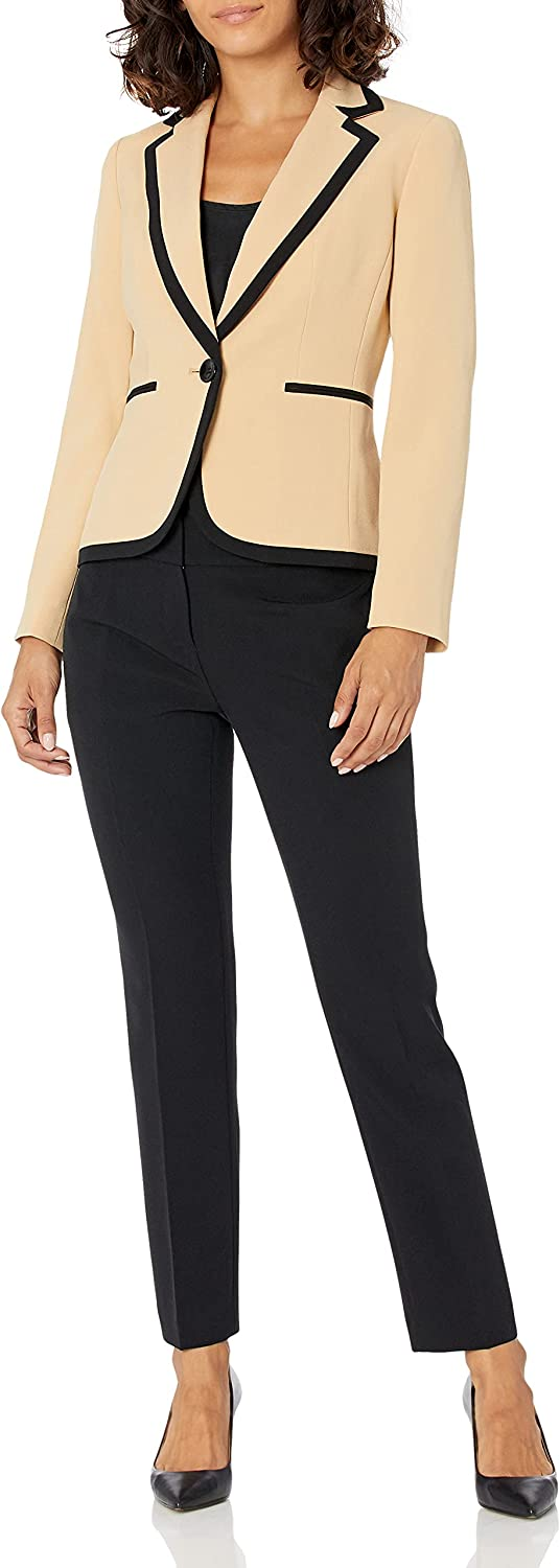 Le Suit Women's Crepe 1 Button Jacket with Combo Framing & Slim Pant