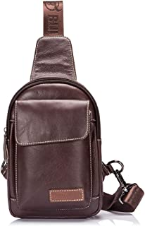 Genuine Leather Men's Sling Bag Chest Pack Male Cross Body Shoulder Bags Messenger Bag Wallet Cell Phone
