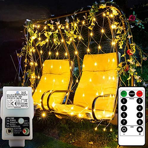 DreiWasser LED Net Lights, 1.5M x 1.5M 100 LEDs Low Voltage Mesh Fairy Lights Outdoor Indoor 8 Modes Christmas Net Lights for Garden, Bushes, Wedding, Xmas Tree Decorations (Warm White)