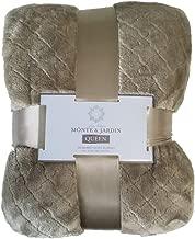 Monte & Jardin Jacquard Velvet Blanket Queen Tan