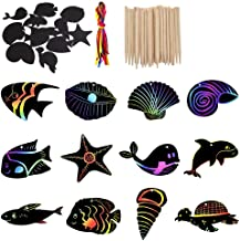 48 Pcs of Scratch Art Rainbow Paper Sea Life Animal Hanging Tags, Magic Color Scratch Rainbow DIY Paper Card with Wooden Styluses and Ropes, Party Favor Craft Kit for Kid Boy Girl Classroom Birthday
