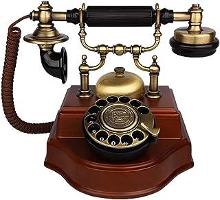 Old-Fashioned Telephone/European Retro Solid Wood Phone Rotating Antique Home Office Fixed Landline Retro Landline