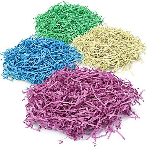 com-four® 4X Papierwolle zum Dekorieren - Buntes Füllmaterial für Geschenke - Verpackungsmaterial aus Deko-Papierwolle (04 Stück)