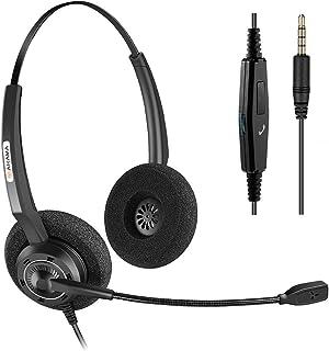 Arama 携帯電話用ヘッドセット iphone 3.5mm スマホ対応 高音質 マイク付き ヘッドホン 有線 ビジネス 通勤 通学「両耳」
