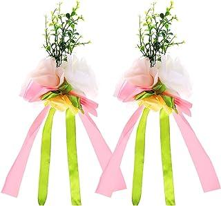 2f324f327 VORCOOL 2 Unids Rosa Flor Artificial Decoración del Coche de Boda Flores de  Boda (Rosa