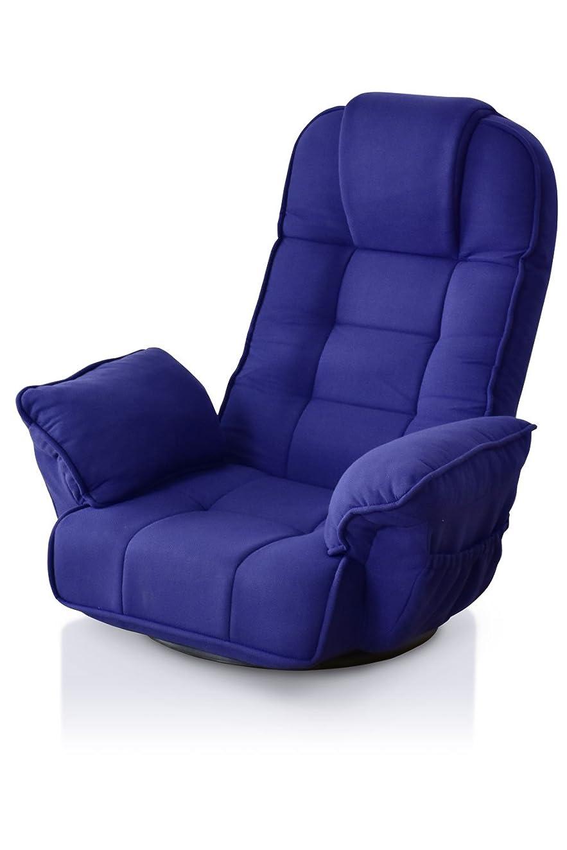 考えオーケストラ支配するDORIS 回転座椅子 リクライニング レバー式 ハイバック 肘掛け ファブリック ネイビー ミエル
