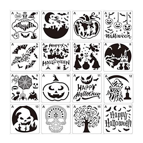16 Stück Halloween-Schablonen Kunststoff Zeichenschablonen – Kürbismuster, Fledermaus, Katze, altes Schloss, Hexe, Geist, Monster für Halloween-Dekor, Karten, Basteln, Zeichnen, Malen, Kunstprojekte