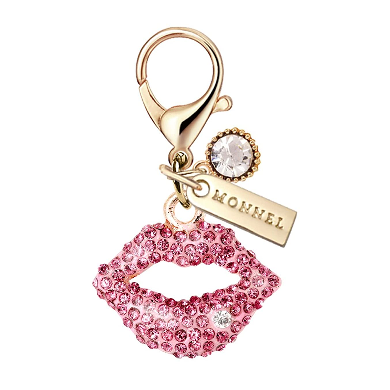 MC61 New Arrival Adorable Pink Crystal Kiss Lip Lobster Clasp Charms Pendants with Pouch Bag (1 Piece)