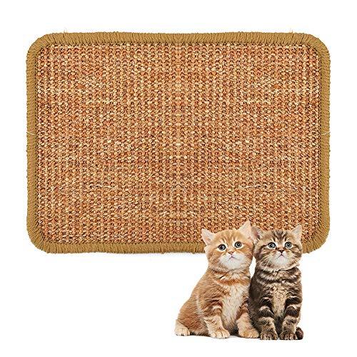 ALLOMN Estera para Rascar el Gato, 40×60cm Almohadilla de Sisal Natural, Almohadilla para Gato, Garras de Afilar el Gato, Cuidado de Las Patas del Gato, Juguete de Cuidado S/M/L/XL (XL : 40×60cm)