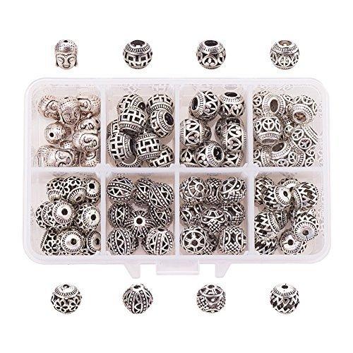 PandaHall Elite 80pcs 8 Stile Argento Tibetano Antico Ball Bali Perline distanziali Charms Perline Europee Accessori per creazione di Braccialetti collane bigiotteria Perline di Metallo