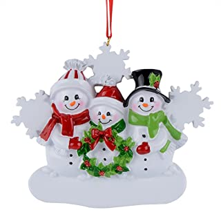 MAXORA Snowman Snowflake Family of 3 Personalized Ornament for Christmas Tree Decoration - Free Customization