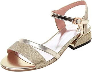 TAOFFEN Women Fashion Low Heel Sandals Ankle Strap