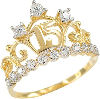 10k Yellow Gold CZ-Studded Crown Sweet 15 Anos Quinceanera Ring