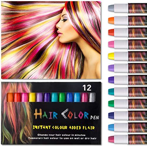 Haarkreide,Hair Chalk 12 Farben Auswaschbar Haarkreide 6 Paar Handschuhe für kinder Temporäre Haarfarbe Ideal für Kinder Mädchen, Geschenke Geburtstag Karneval & Weihnachten