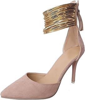 b720a742fd8 Mofgr Women Sexy High Heels Shoes Gold Ankle Strap Pumps Dress Shoes