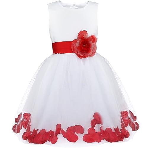 Freebily Vestidos de Niñas Blanco Elegante Boda Fiesta Bautizo Flor Disfraz de Princesa con Flores Interiores Ceremonia Cóctel Infántil