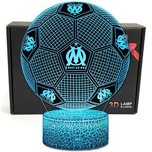 Football 3D Illusion Optique Intelligent 7 Couleurs LED Night Light Lampe de Table avec câble...