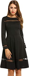 Women A Line Fit Flare Dress Bow 3/4 Sleeve Knee Length Retro Party Evening Swing Dress