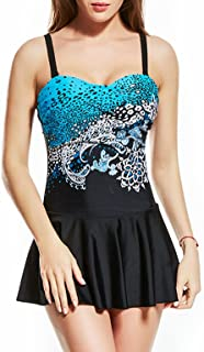 TieNew Ladies Vintage Slimming Swimdress Plus Size Cover Up Swimsuit One Piece Beachwear,Women's One Piece Swimsuit Fashio...