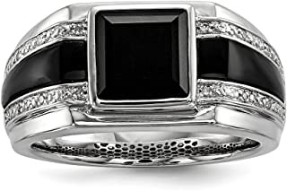 Men's Sterling Silver .05 Ctw (I-J Color, I2-I3 Clarity) Diamond & Black Onyx 11.5mm Tapered Band