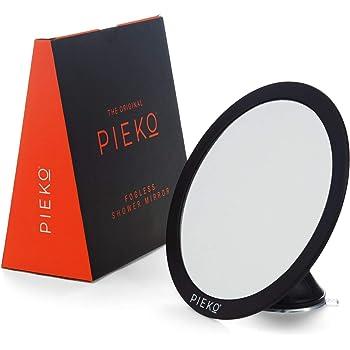 PIEKO Fogless Shower Mirror for Shaving - Fog Free, Shatterproof, Strong Twist Lock Suction Cup, Flexible Swivel Head, Matte Black