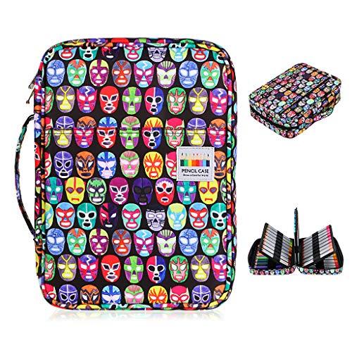 BTSKY Colored Pencil Case 220 Slots Pen Pencil Bag Organizer with Handy Wrap Portable- Multilayer Holder for Prismacolor Crayola Colored Pencils & Gel Pen Mask