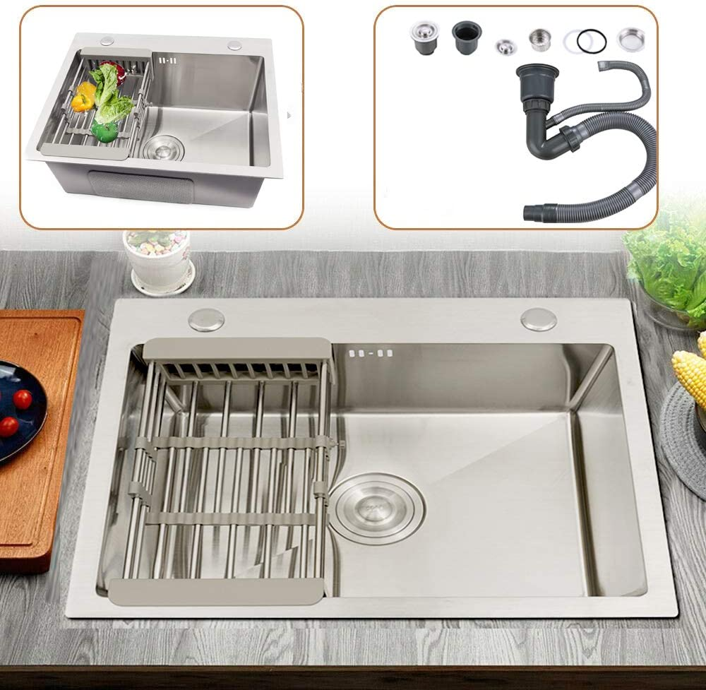 Fregadero de cocina con escurridor, acero inoxidable, cuadrado, 55 x 45 x 22 cm