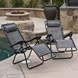 BELLEZE 2PC Zero Gravity Chairs Lounge + Headrest Patio Foldable Recliner Outdoor with Cup Holder Tray, Grey