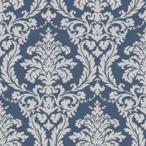 Sirpi by Muriva Italienischer klassisch Beatrice Damask Muster Vinyl Tapete - 22911 blau & Silber