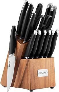 hecef Ensemble de 15 Couteaux de Cuisine avec Manche en ABS Noir, pour la Cuisine, Le Tranchage, Le lissage, Le Multi-Usag...