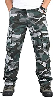 Men's Casual Military Cargo Pants, 8 Pockets Cotton Wild Combat Tactical Trousers