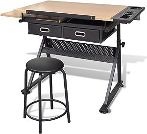 vidaXL Mesa Con Tablero Inclinable Y Taburete Mueble Oficina Mesa de Dibujo