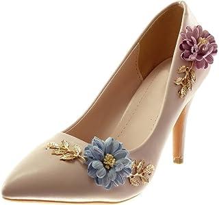 a1702768a4677b Angkorly - Chaussure Mode Escarpin Stiletto Decolleté Slip-on Femme Fleurs  doré Fantaisie Talon Haut