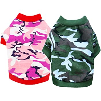 DERUILA Dog Clothes T Shirt: Camo Dog Outfit Costume Puppy Clothes for Small Medium Boys Girls Dog2 Pack
