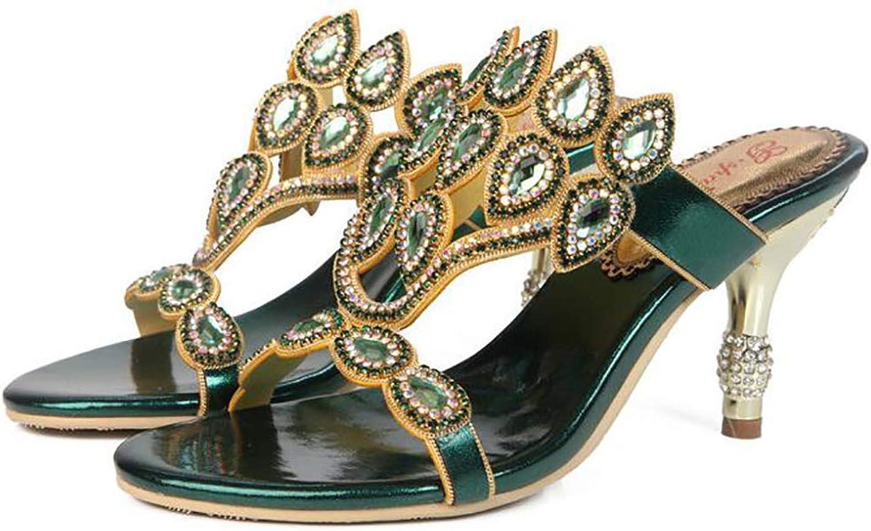 Women's Slipper Summer Diamante Fashion Diamond Fine Heel Casual Sandals
