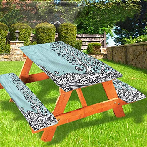 Lyzelre Tree of Life Picnic Table & Benches Cover, Esoteric Spiritual Elastic Edge Fitted Tablecloth,28 x 72 Inch, 3-Piece Set for Travel Christmas Picnics Parties Outdoor