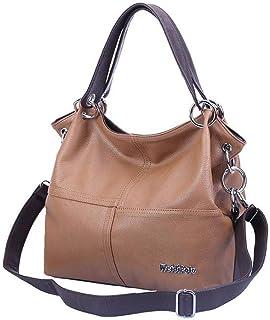 Weidi Polo Women's Vintage Shoulder Zipper Messenger Bag Soft,PU Leather - Brown
