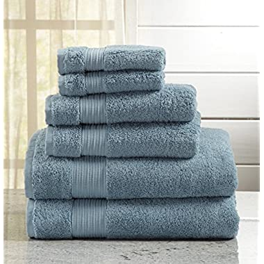 Great Bay Home 6-Piece Luxury Hotel/Spa 100% Turkish Cotton Towel Set, 600 GSM. Includes Bath Towels, Hand Towels and Washcloths. Grace Collection By Brand. (Rain Blue)