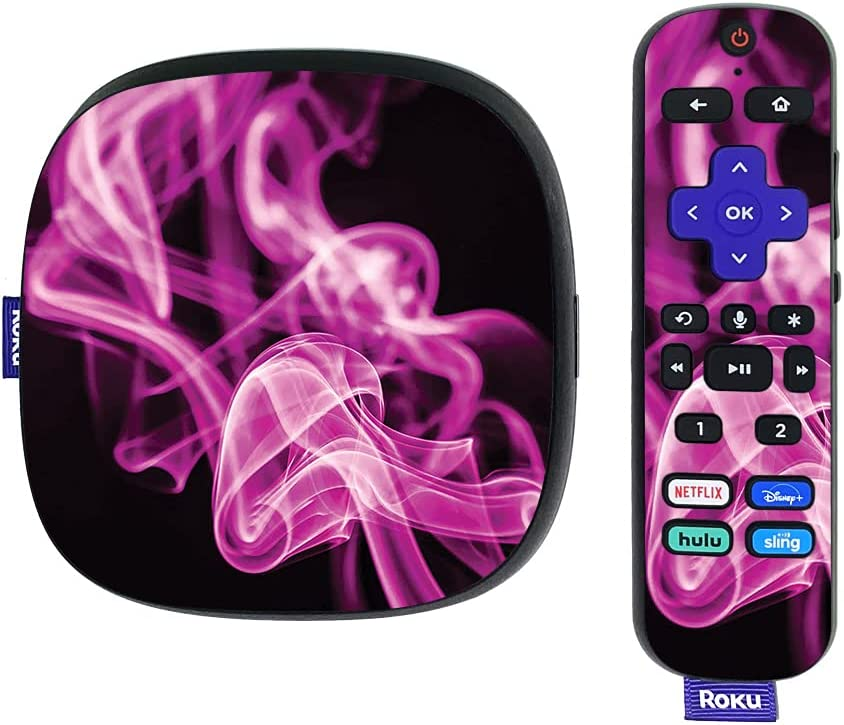 MightySkins Skin Compatible with Roku Ultra HDR 4K Streaming Media Player (2020) - Pink Flames   Protective, Durable, and Unique Vinyl Decal wrap Cover   Easy to Apply   Made in The USA
