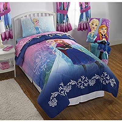 NEW! Disney Frozen Twin Size Nordic Frost Bedding Set Made of 100% Polyester with Reversible Comforter, Flat Sheet, Fitted Sheet and Pillowcase