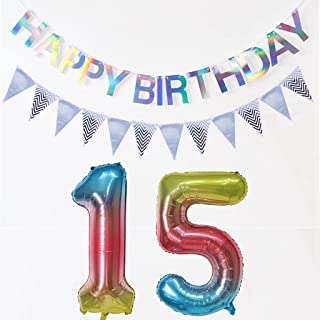 Ballonnen nummer 15 regenboog + Happy Birthday-slinger + wimpelketting banner folieballon 15e verjaardag decoratie meisje ...