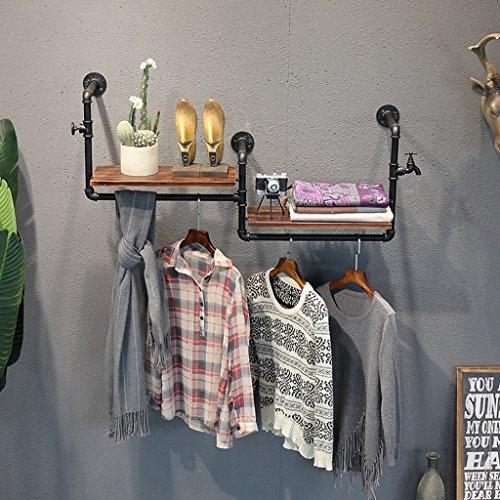 TRRE@ Vintage alte hölzerne Rohr und Garderobe Eisen Kombination Wandbehang Regal Haken Kleiderbügel geeignet für Wohn/Schlafzimmer/Studie/Kleidung Shop (120cm) (Farbe : Schwarz)