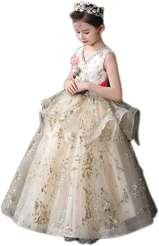 TONG Girls Very SEAL limited product popular Dress Flower Girl Birthday Host Princess Piano