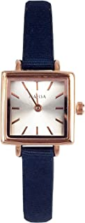 KTC Nafisa Women's Rose Gold Color Case Small Square Dial Quartz Blue Fabric Strap Watch NA-0024