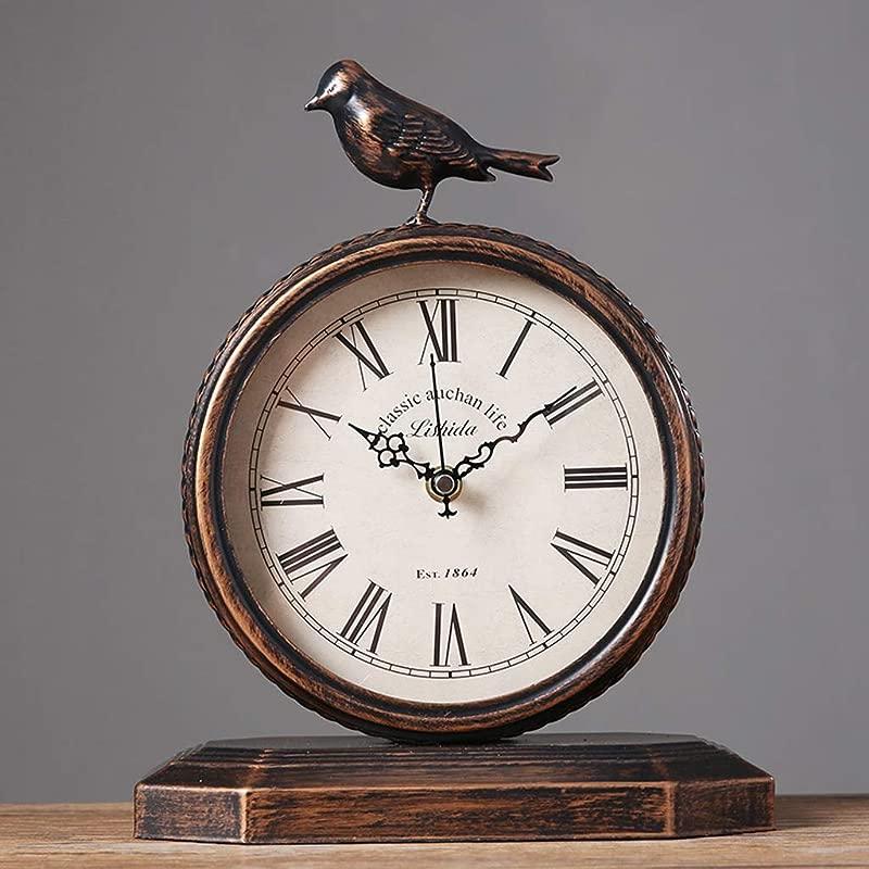 JIAHE115 Jiale European Metal Table Clock Home Retro Silent Clock Desktop Desk Clock 9 05 11 4 Inches