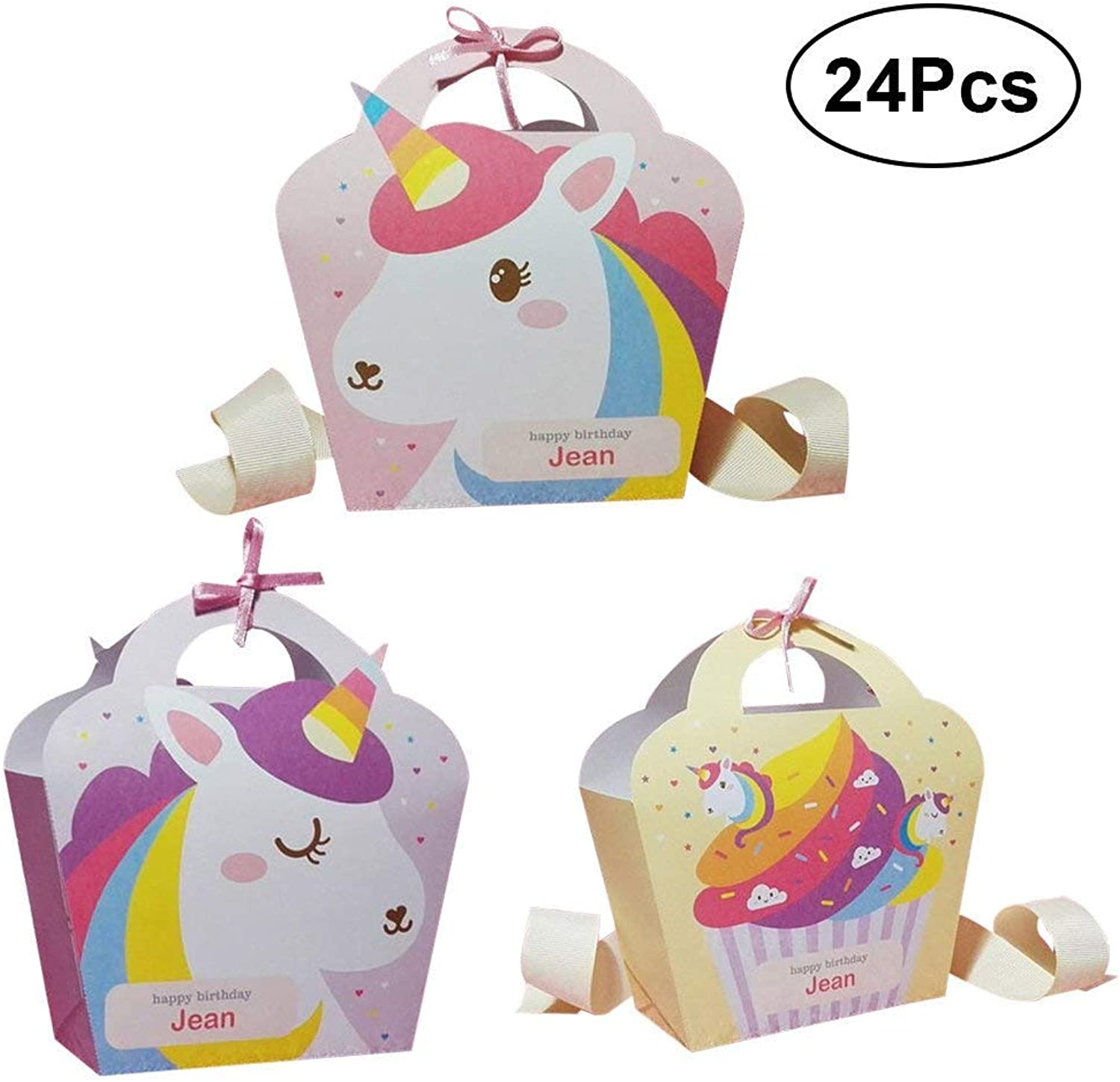 Polymer 24PCS Unicorn Gift Bags Cartoon Sugar Cookies Package Bags Party Favor Bags for Wedding Birthday Party