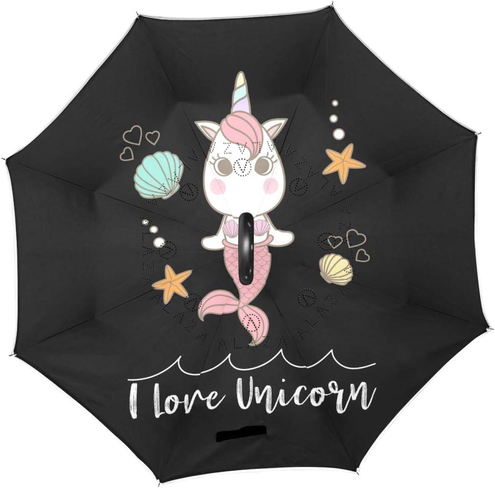 Mr.Brilliant Mermaid Unicorn Reverse 67% OFF of fixed price Umbrella Star Cartoon Popular product Windp