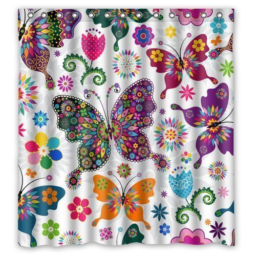 "FMSHPON Fashionable Bathroom Collection-Custom Waterproof Seamless Spring Pattern Colorful Butterflies Shower Curtain (66"" x 72"") With 10 holes"
