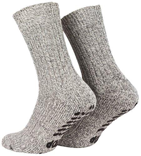 Piarini 2 Paar Stoppersocken mit Frotteesohle - ABS Socken Herren - Anti Rutschsocken mit Noppen aus Schafwolle - Wintersocken in grau Gr. 43-46