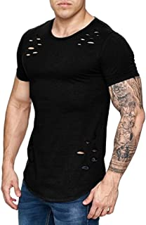 Realdo mens Mens Ripped T-Shirt, Slim Fit Solid Casual Hole Short Sleeved Tee Shirts Tops